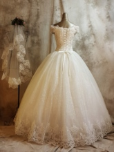 Off the Shoulder Lace Sequins Ball Gown Wedding Dress