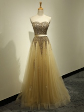 A-Line Sweetheart Sequins Ribbon Prom Dress