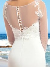 Sequins Appliques Beach Wedding Dress with Long Sleeve