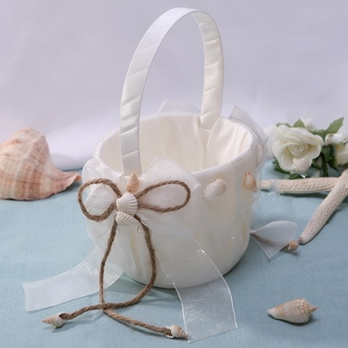 Flowers Basket in Satin With Starfish and Seashell