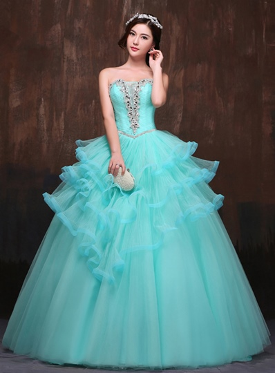 Strapless A-line Beadings Rhinestone Quinceanera Dress
