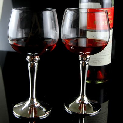 Silver-plated Glass Toasting Flutes(Set of 2)