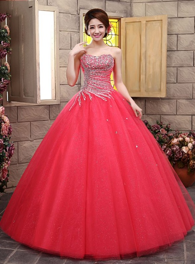 A-line Sweetheart Rhinestone Beadings Quinceanera Dress