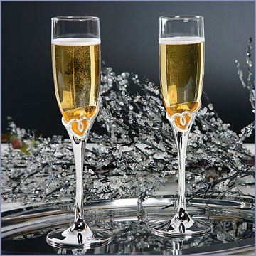 Silver-Plated Heart Decorated Design Toasting Flutes(Set of 2)