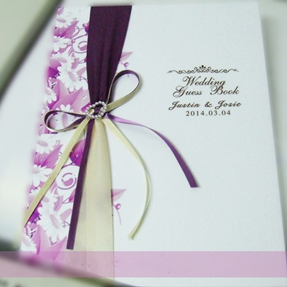 Purple Loving Heart Wedding Guest Book