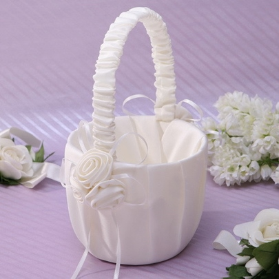 Ivory Flower Basket in Satin
