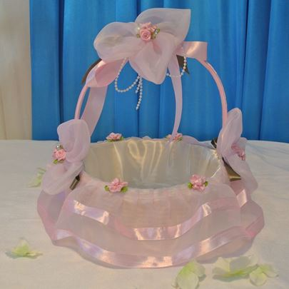 Pink Flower Basket in Lace With Flowers