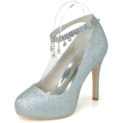 Sequins CZ Rhinestone Stiletto Heel Wedding Shoes