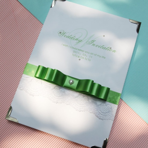 -Sweethearted Wedding Guest Book with Green Bowknot