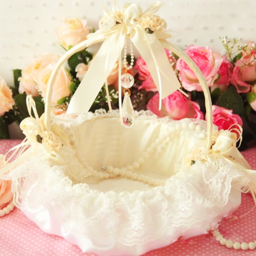 Flower Basket in Satin & Lace