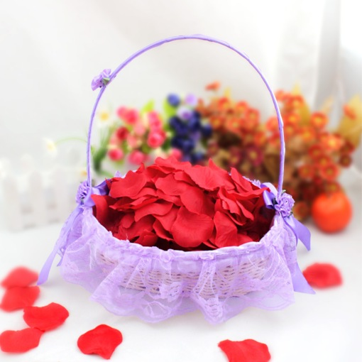 Purple Flower Basket With Lace Lining
