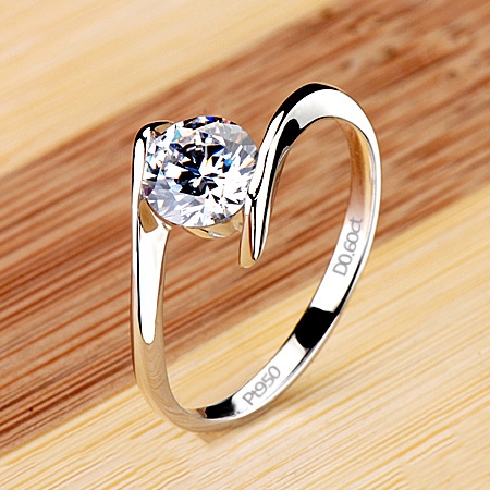 Anillo de Compromiso para Boda/Damas CT 0,6 Simple NSCD Diamond Pt 950