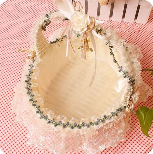 Wedding Flower Girl Basket In Ivory Satin With Lace