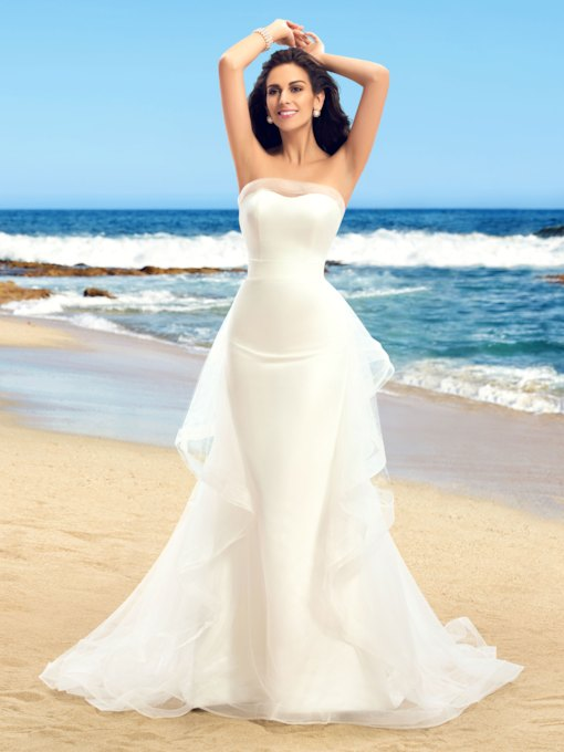 Strapless Trumpet Ruffles Outdoor Wedding Dress