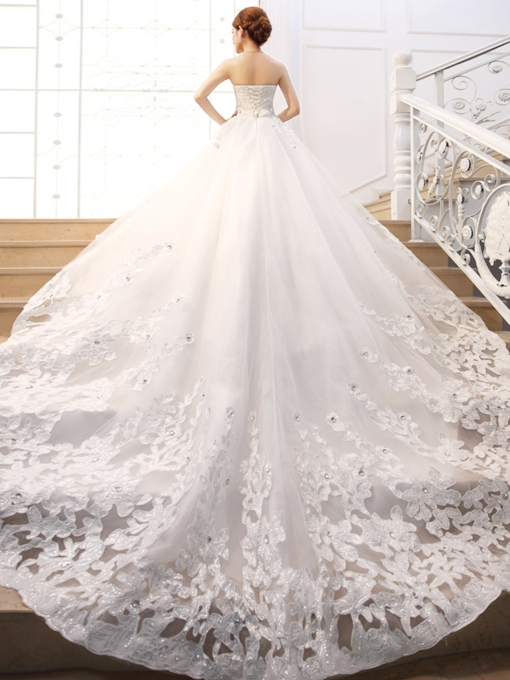 Luxurious Beaded Appliques Cathedral Train Wedding Dress