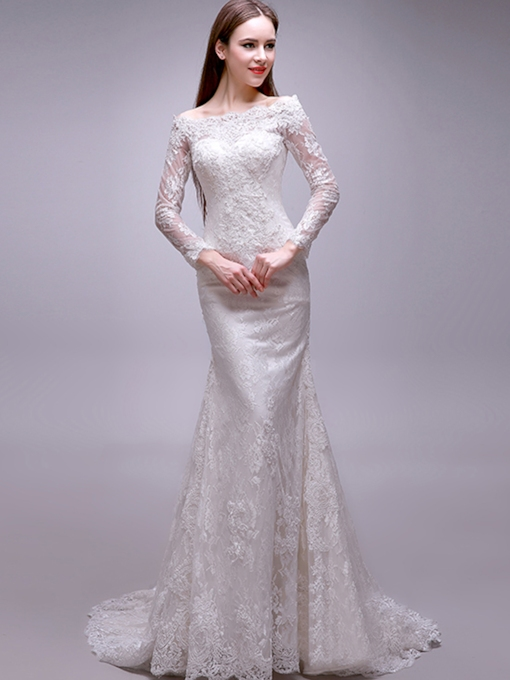 Trumpet Bateau Long Sleeves Lace Wedding Dress