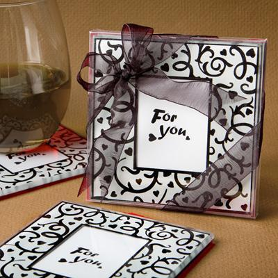 Wedding Favor Heart Print Po Frame Style Cup Mat