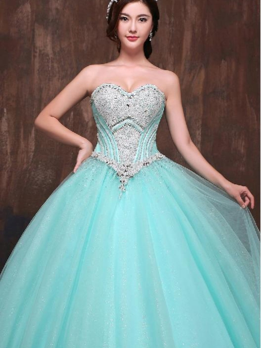 Sweetheart Neckline A-Line Rhinestone Quinceanera Dress