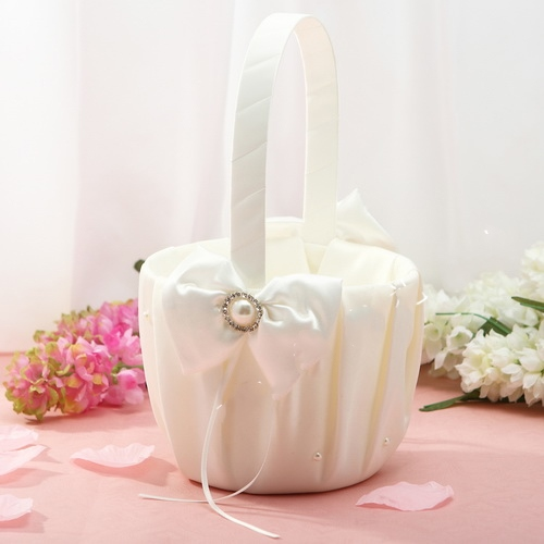 Flower Basket in Satin With Ribbon & Faux Pearl