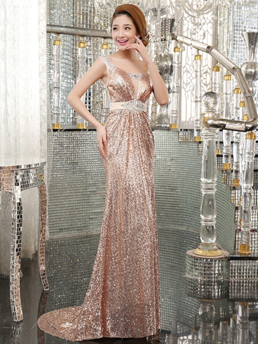 Sequins Mermaid Beadings Scoop Neck Court Train Evening Dress