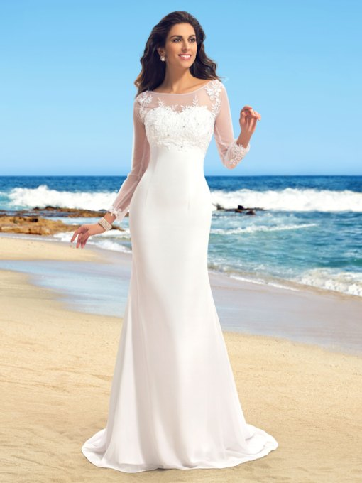 Bateau Neck Appliques Long Sleeves Sheath Wedding Dress