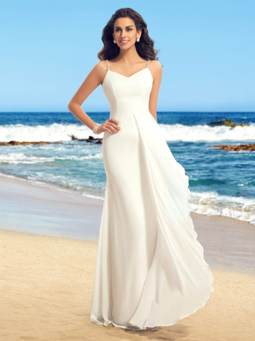 Beading Spaghetti Straps Sheath Beach Wedding Dress