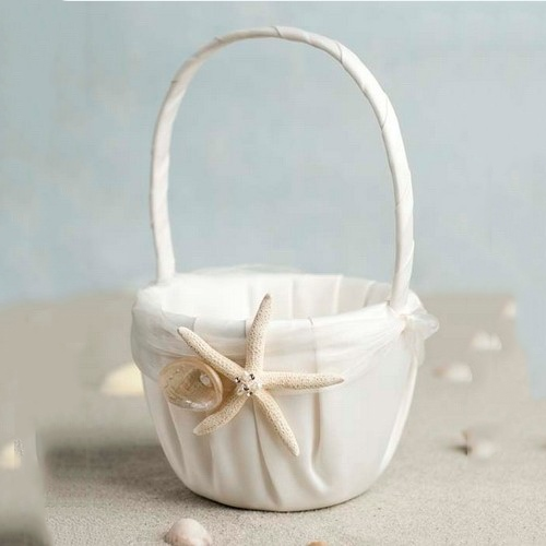 Beach Themed Starfish Design Ivory Satin Flower Girl Basket