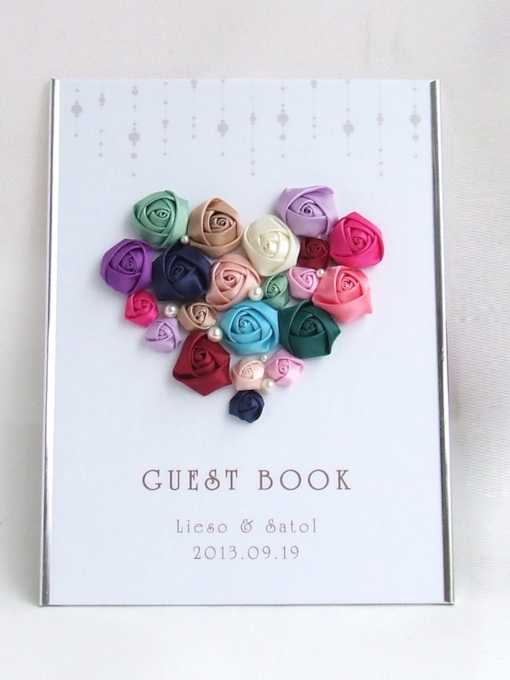 Heart-Shape Colourful Handmade Flowers Wedding Guest Book