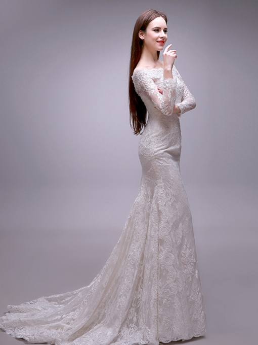 Trumpet Long Sleeves Lace Wedding Dress