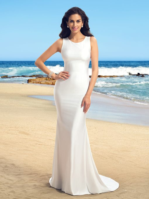 Sleeveless Sheer Back Mermaid Wedding Dress