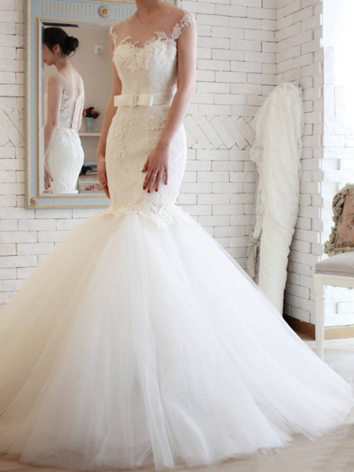 Elegant Sheer Back Tulle Lace Mermaid Wedding Dress