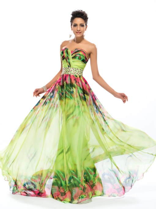 Strapless Sweetheart A-Line Long Prom Dress
