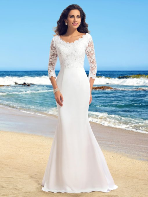 Beading Trumpet Lace Beach Wedding Dress with Sleeves