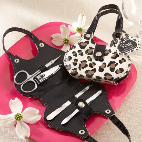 Wedding Favor Leopard Handbag Grooming Sets