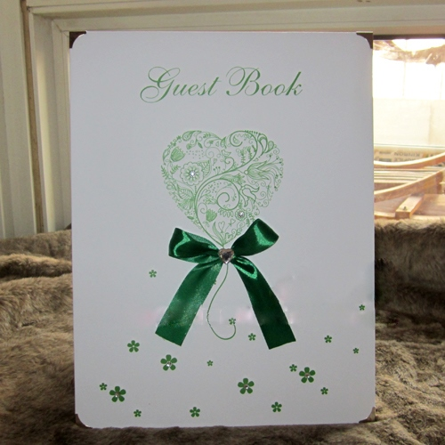 Wedding Guest Book with Green Bowknot