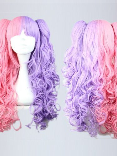 Cosplay Costume Wigs Curly Pink&Purple Synthetic Wigs Capless Wigs for Halloween Party 28Inches