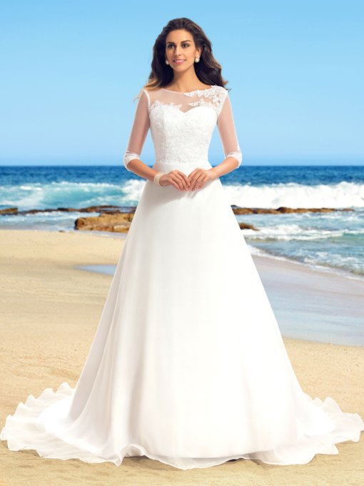 Appliques Half Sleeves Beach Wedding Dress