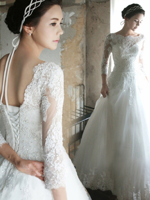 A-Line Bateau 3/4 Sleeves Lace Wedding Dress