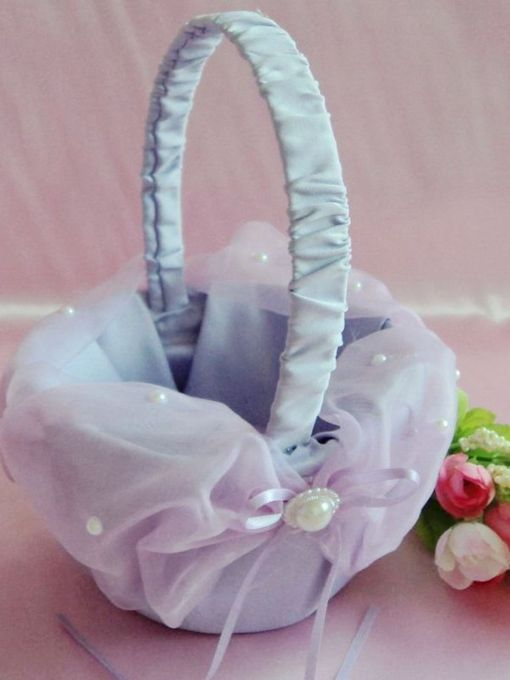 Flower Basket in & Lace With Faux Pearl