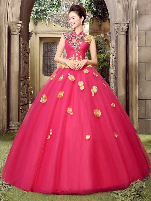 High Neck A-line Flowers Floor-Length Quinceanera Dress
