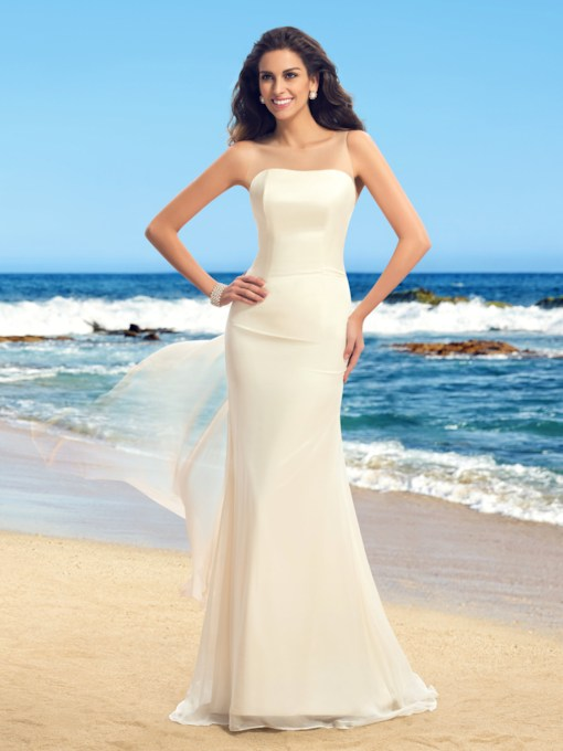 Illusion Neck Flowers Beach Wedding Dress