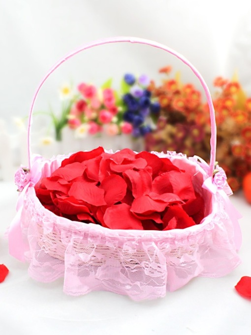 Flower Basket With Lace Lining