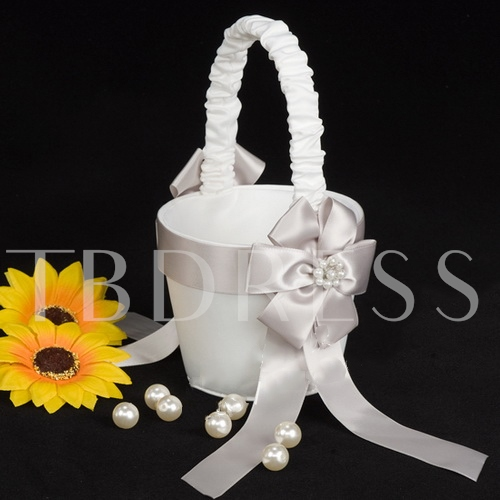 Flower Girl Basket In White Satin With Faux Peal