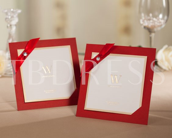 Wedding Invitation with Red Ribbon (20 Pieces One Set)