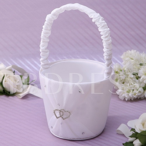 Flower Basket in Satin With Double Heart Rhinestones