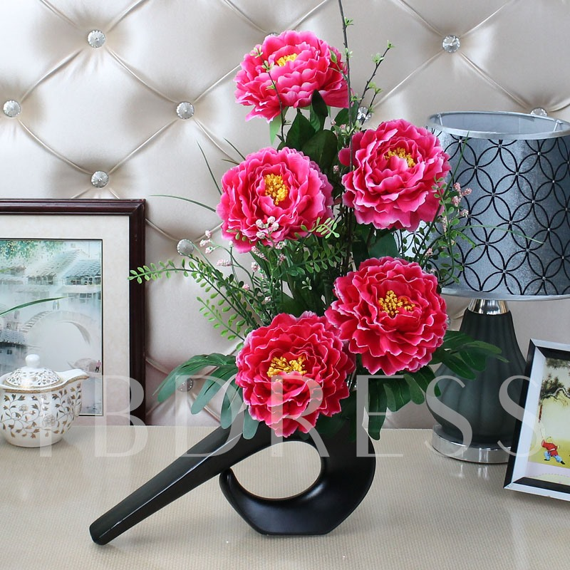 Simulation Flowers Set Series Desktop Decoration Potted Peony