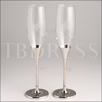 Creative Nickel-Plated Glass Toasting Flutes(Set of 2)