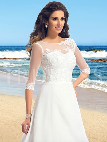 Applique A-Line Zipper-Up Sweep/Brush Train Wedding Dress