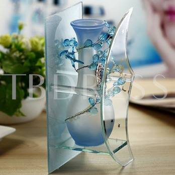 Blue Crescent Glass Vases