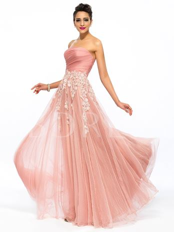 Strapless Appliques A-Line Zipper-up Long Prom Dress